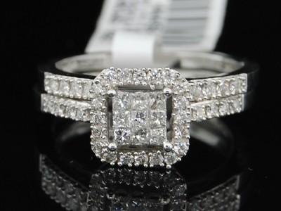 LADIES WHITE GOLD DIAMOND ENGAGEMENT RING WEDDING BAND