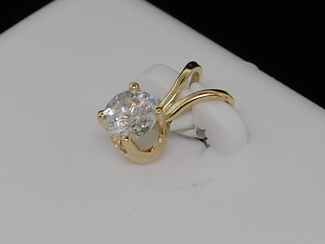 LADIES 14K YELLOW GOLD SOLITAIRE DIAMOND CHARM PENDANT