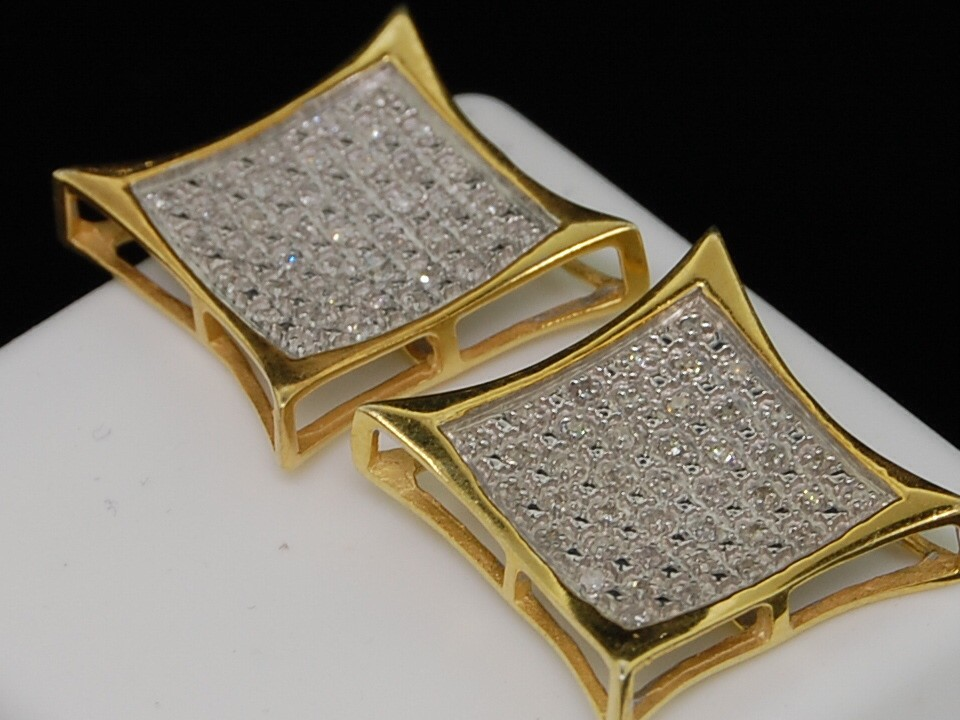 MENS LADIES YELLOW GOLD FINISH DIAMOND STUD EARRINGS