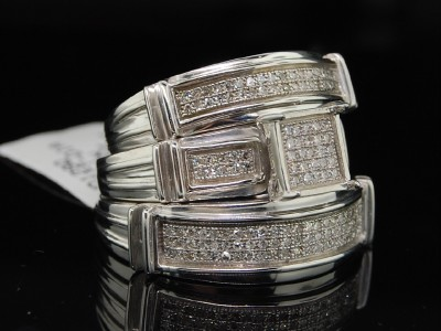 Ladies Wedding Band on Ladies   Mens Wedding Band Engagement Diamond Trio Set   Ebay