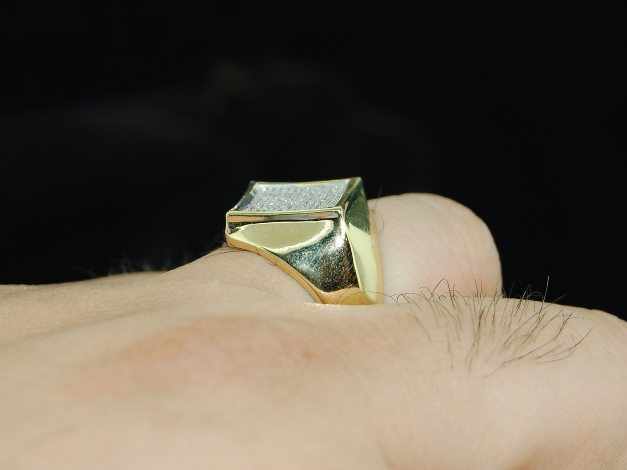 25C MENS YELLOW GOLD FINISH DIAMOND SQUARE PINKY RING