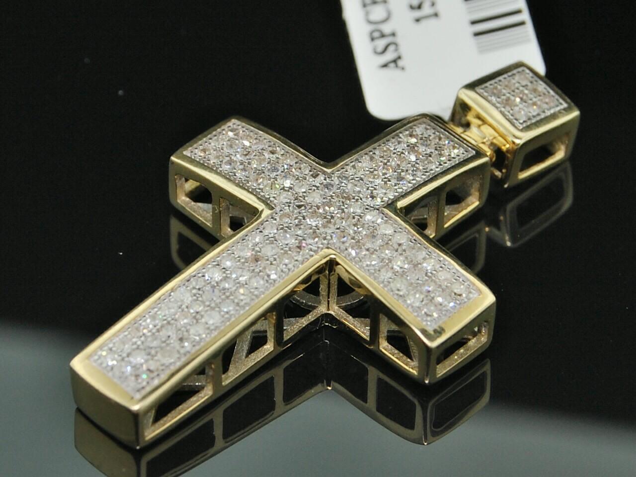 MEN LADIES YELLOW GOLD DIAMOND MINI CROSS CHARM PENDANT