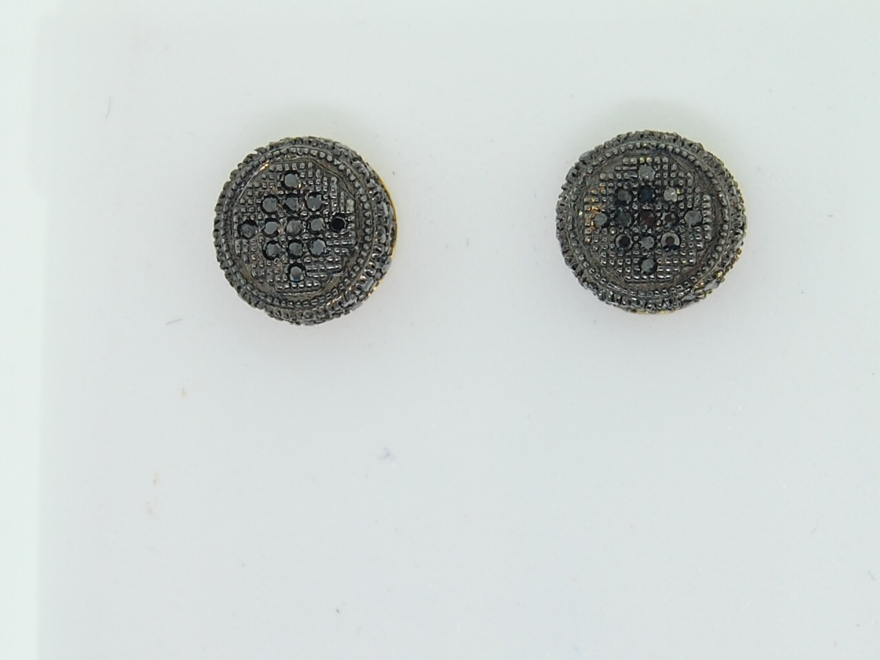 MENS 10K YELLOW GOLD 0 35CT BLACK DIAMOND EARRINGS STUD