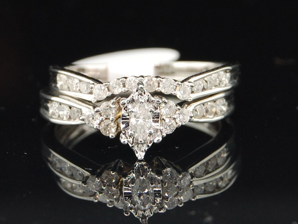 14k white gold marquise engagement ring