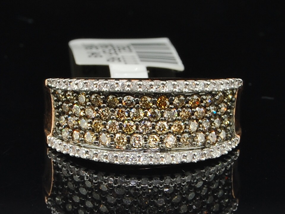 ROSE PINK GOLD CHOCOLATE BROWN DIAMOND ENGAGEMENT RING WEDDING BAND