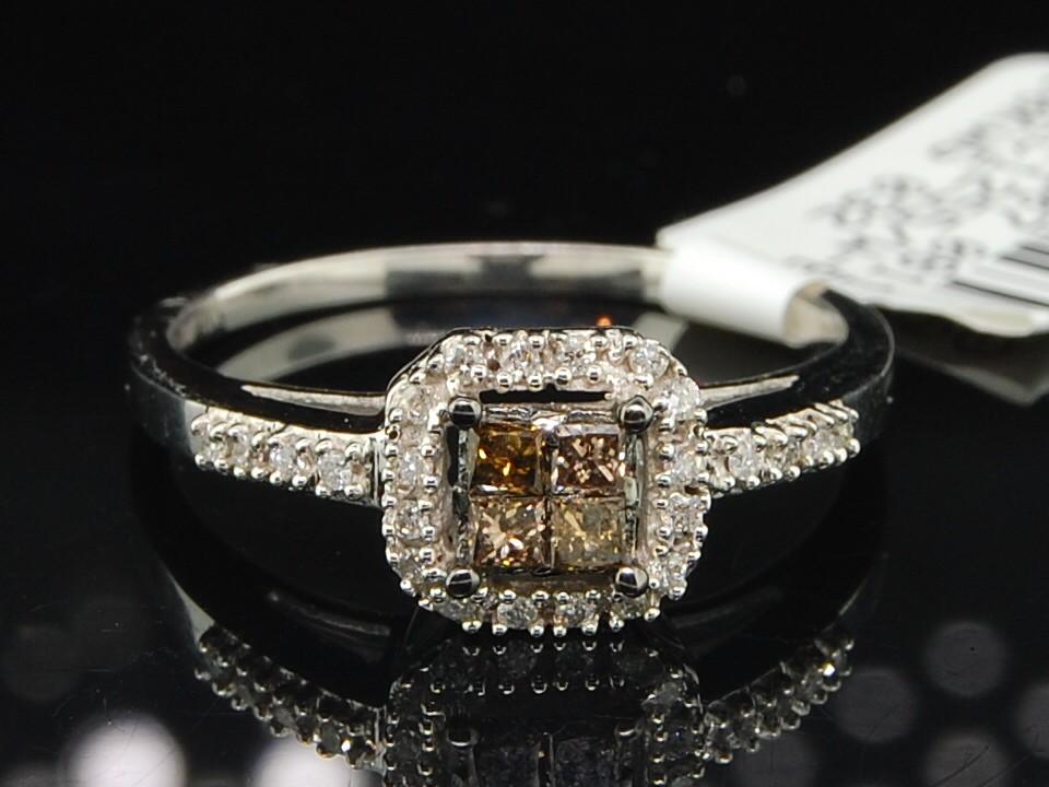 WOMENS WHITE GOLD CHOCOLATE BROWN PRINCESS CUT DIAMOND