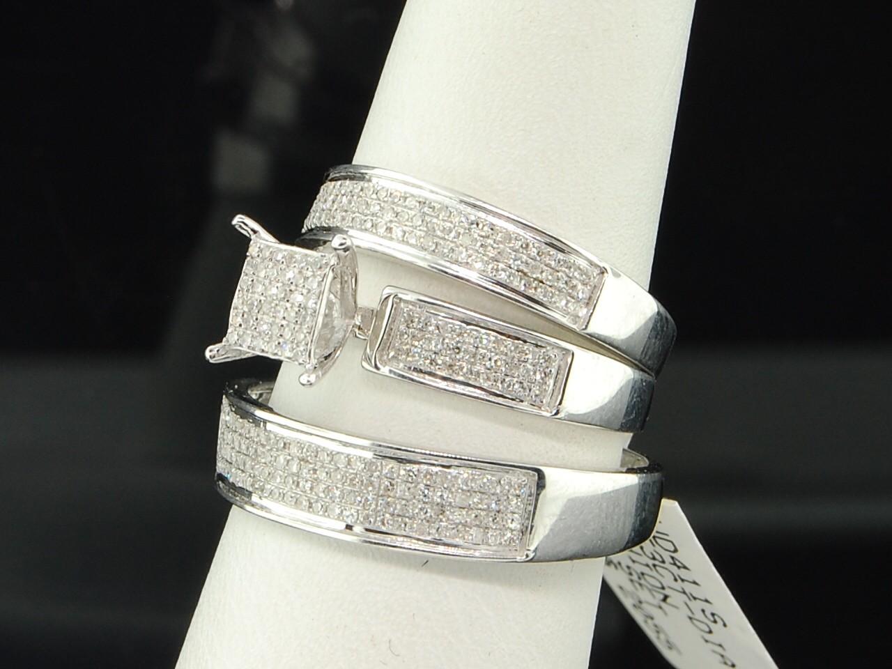 MENS LADIES 10K WHITE GOLD DIAMOND ENGAGEMENT RING PAVE WEDDING BAND