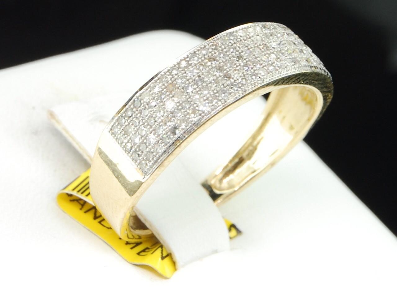 Mens Yellow Gold Diamond Engagement Ring Wedding Anniversary Pave Band