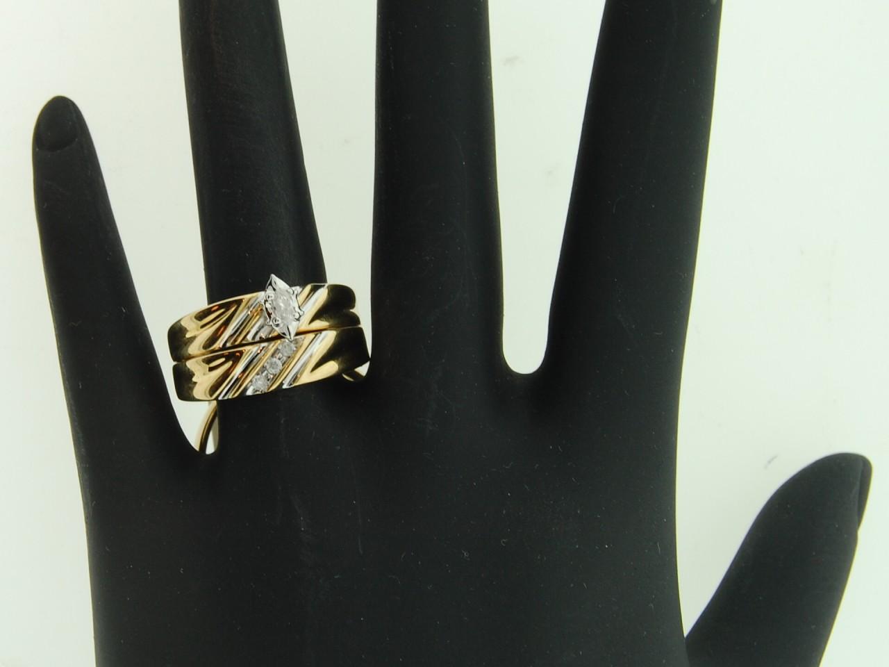 10K Mens Ladies Yellow Gold Diamond Engagement Ring Wedding Band Trio