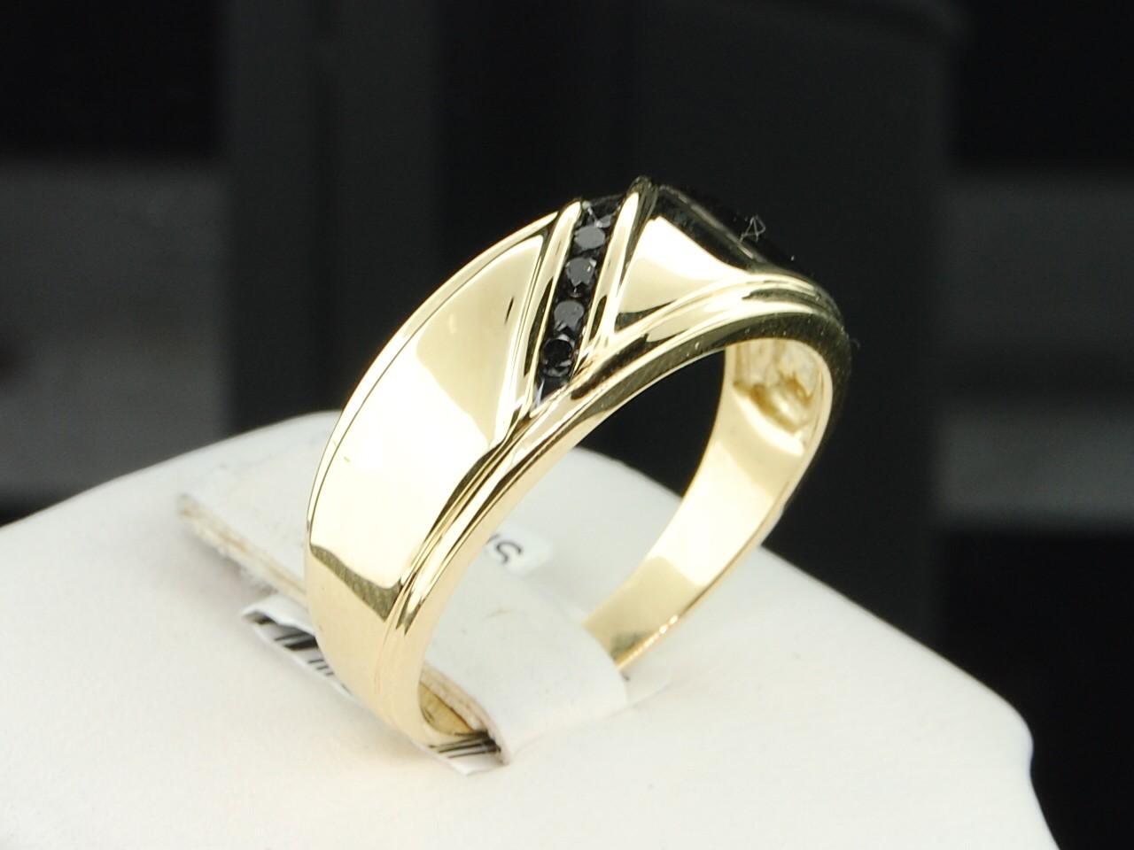 Mens 10K Yellow Gold Black Diamond Engagement Ring 5 Stone Wedding Band Chann