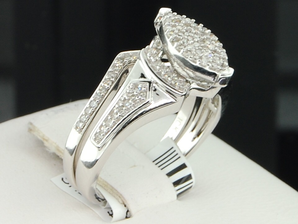 Ladies 10K White Gold Diamond Engagement Ring Marquise Shape Wedding Bridal S