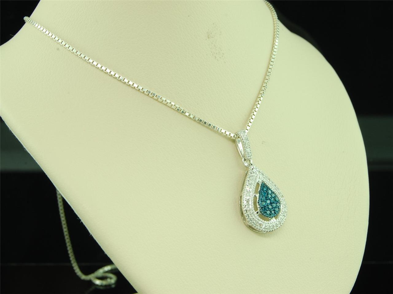 Gold Blue Diamond Teardrop Pendant Charm for Necklace 0 21 Ct