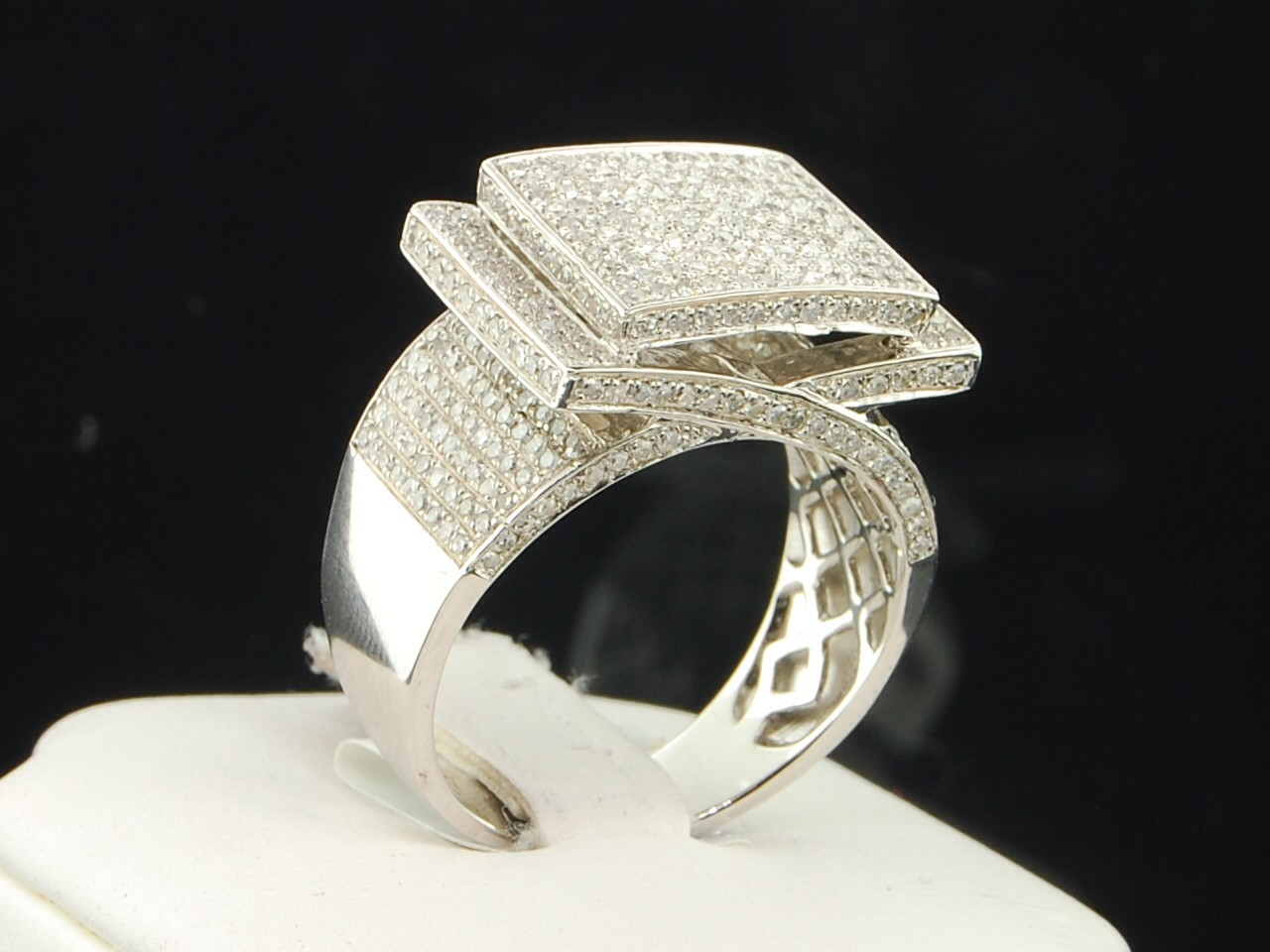 Mens White Gold Finish Round Cut Diamond Pinky Ring Big Square Head Band 3 4 ct