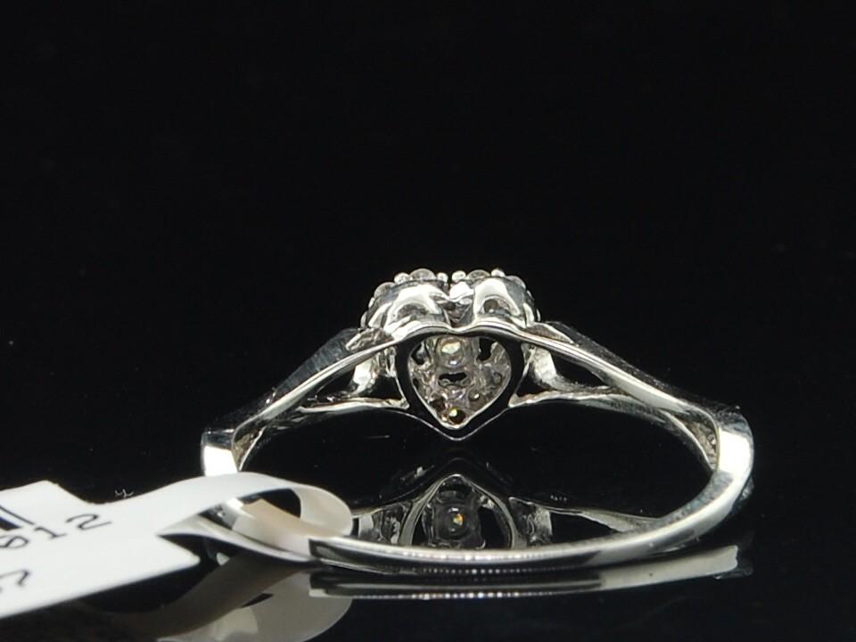 La s 10K White Gold Love Heart Round Diamond Engagement Ring Bridal Set 12
