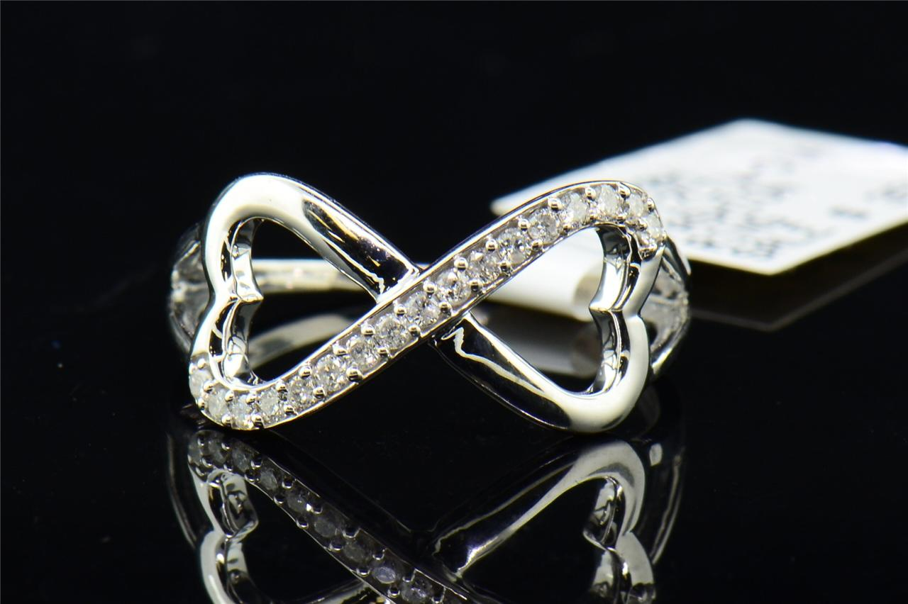 La s White Gold Finish Heart Infinity Diamond Engagement Ring Wedding Band