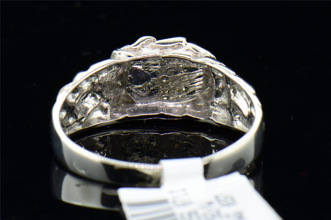 mens 10k white gold cut engagement ring
