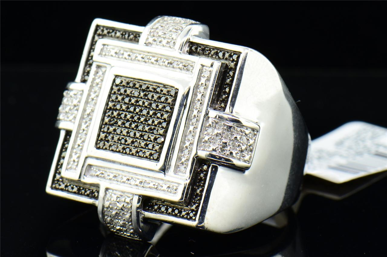 Mens White Gold Finish White Black Diamond Pinky Ring Square Big Face 0 29 Ct