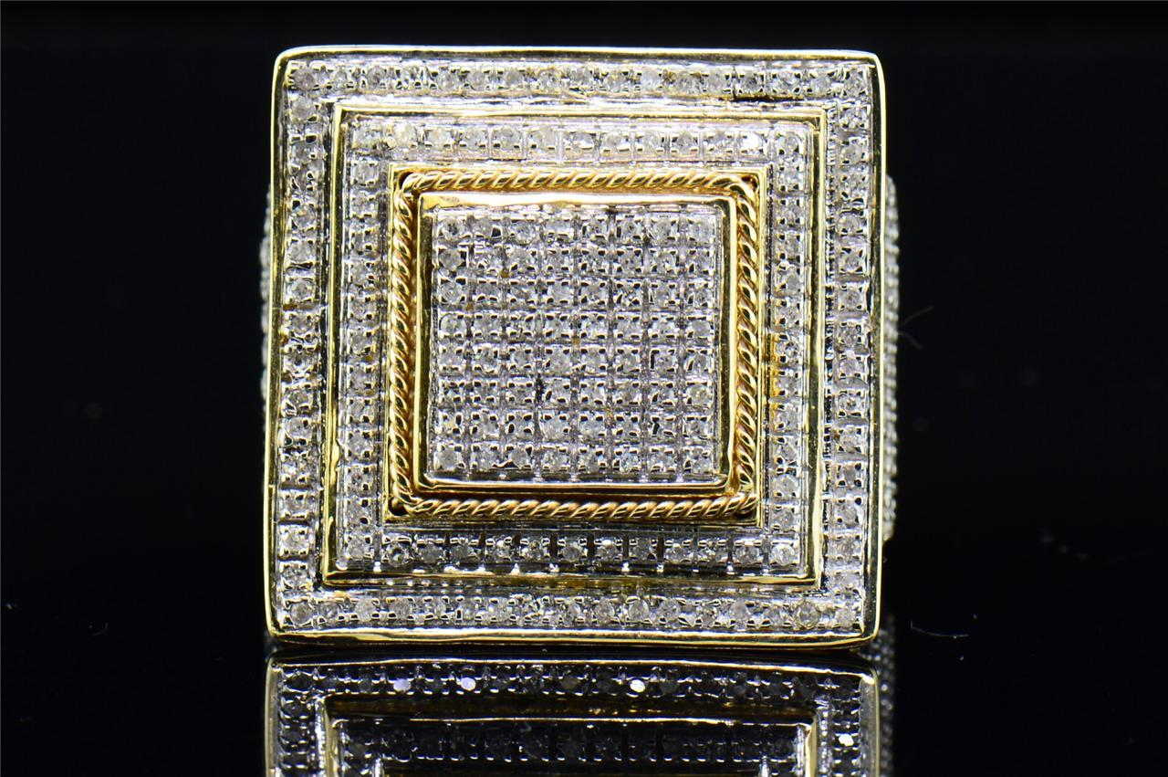 Mens 10K Yellow Gold White Round Diamond Pave Big Square Face Pinky Ring 91