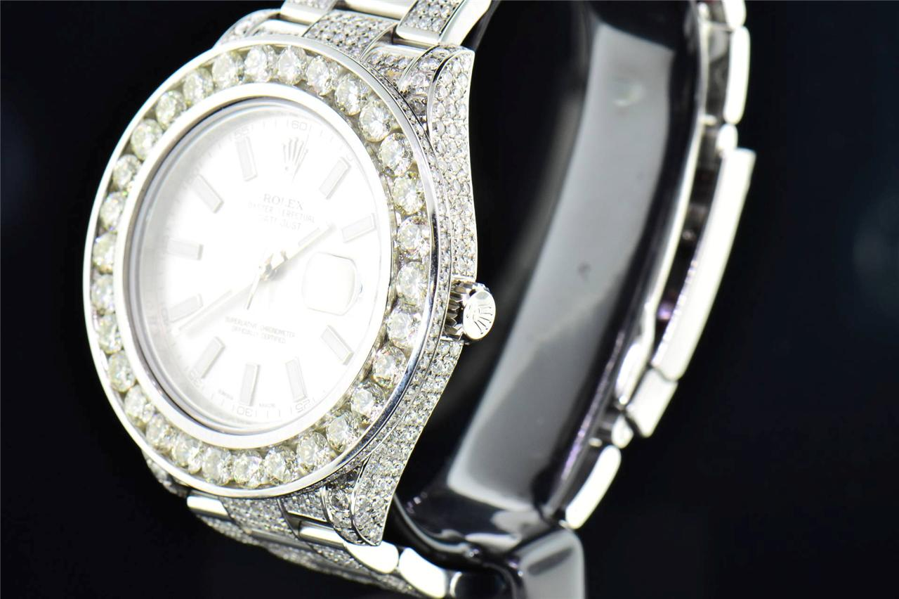 Mens New Rolex Date Just Ii 2 Iced Out Flooded With