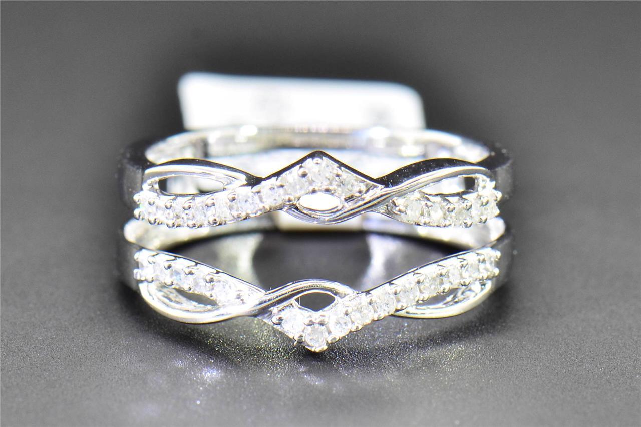 Diamond Enhancer Wrap Solitaire Engagement Ring 1 4 Ct 10K White Gold