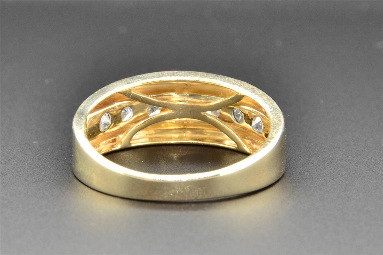 Diamond Wedding Band 10K Yellow Gold Round Cut Mens Engagement Ring 0 75 CT
