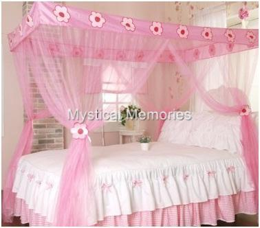 pink flower princess mosquito net 4 poster bed canopy. Black Bedroom Furniture Sets. Home Design Ideas