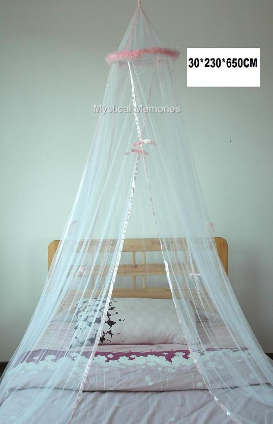 White Mosquito Net Bed Canopy w Pink Feathers - Cot/SGL