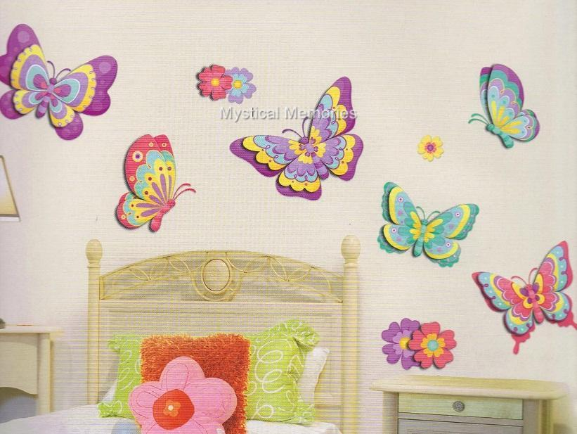 gorgeous butterfly removable 3d wall stickers decals new for girls ebay. Black Bedroom Furniture Sets. Home Design Ideas