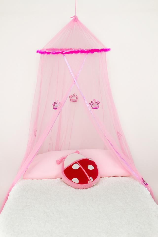 Pink-Crown-Princess-Mosquito-Net-with-Feathers-and-Crowns-Cot-Sgle-NEW