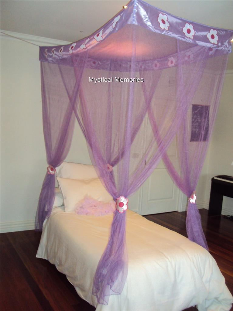 Purple Flower Princess Mosquito Net Bed Canopy 4 Poster