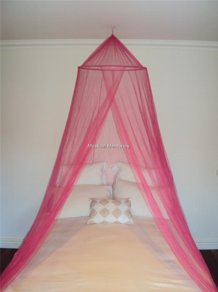Image is loading Hot-Pink-King-Size-Mosquito-Net-Bed-Canopy- & Hot Pink King Size Mosquito Net Bed Canopy Gorgeous NEW | eBay