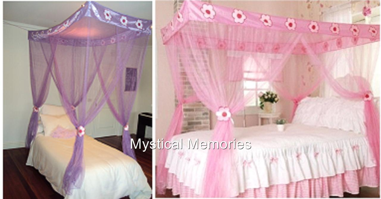 Pink Purple Flower Princess Mosquito Net 4 Poster Bed