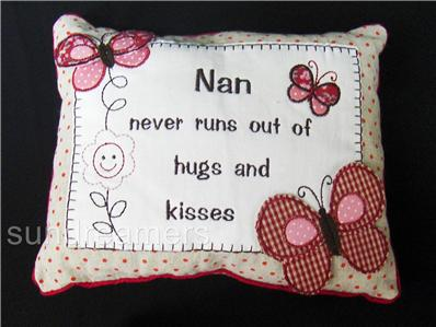 Embroidered Nan Message Cushions Ideal Birthday Christmas Gift in