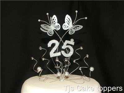 Silver 25th Wedding Anniversary Cake Topper Butterflies