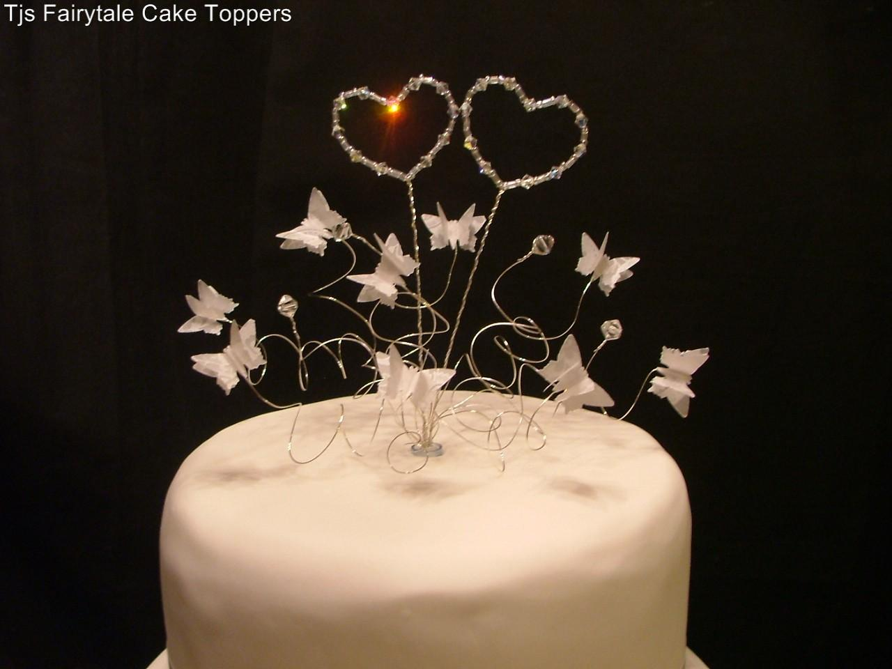 Swarovski Crystal Hearts and Butterflies Wedding Cake