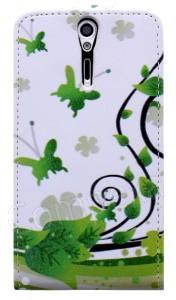 ... Astuccio Flip Fantasia Verde con Farfalle per Sony Xperia S LT26i