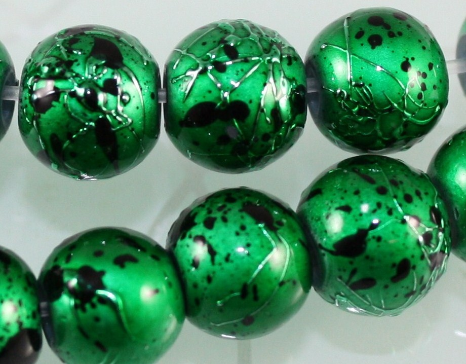 50-pcs-8mm-BLACK-SILVER-DRAWBENCH-GLASS-ROUND-BEADS