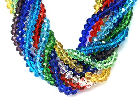 200pcs 6mm or 100pcs 8mm FACETED RONDELLE CRYSTAL GLASS BEADS MIXED COLOURS