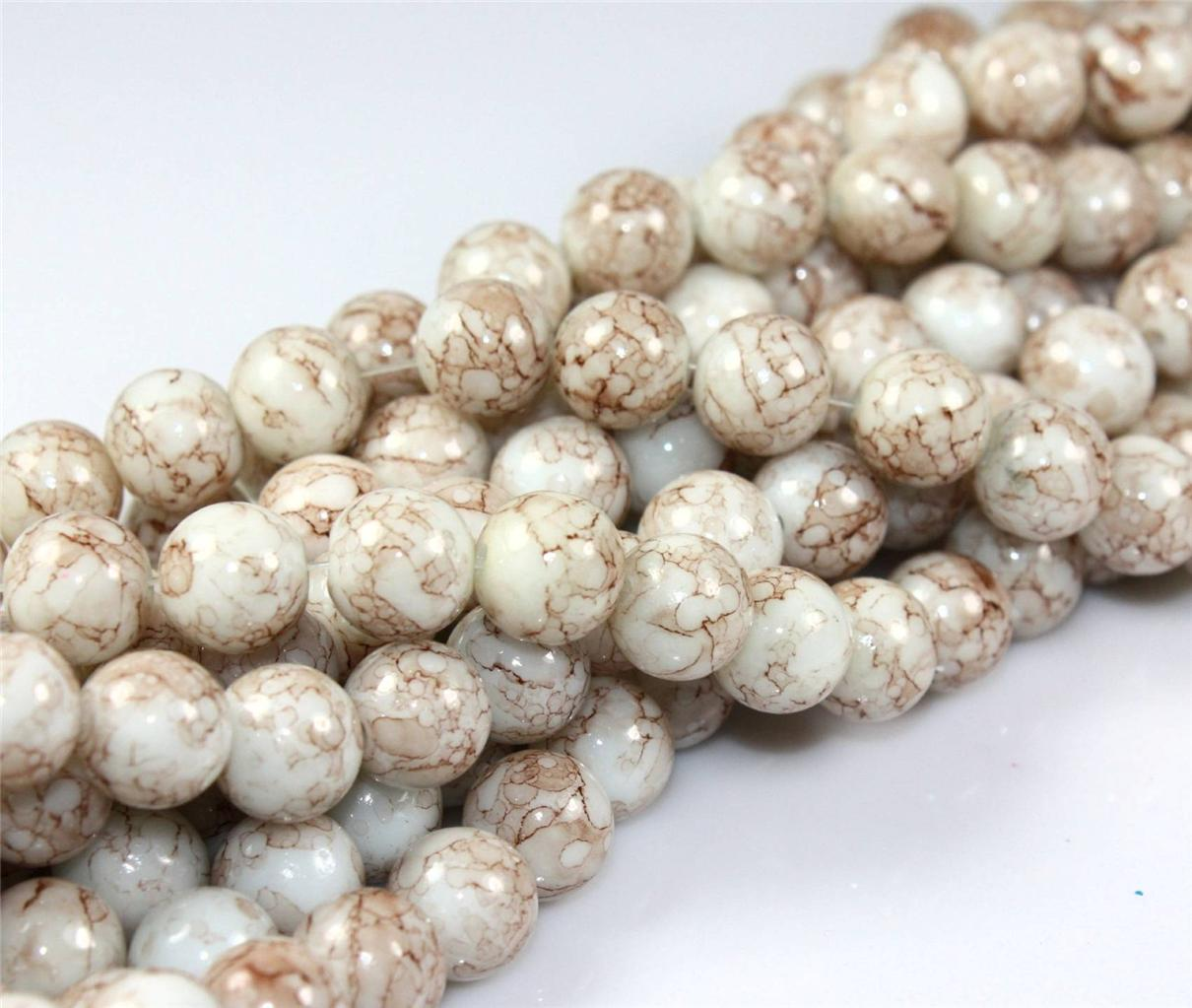 200x-6mm-100x-8mm-50x-10mm-MARBLE-EFFECT-GLASS-DRAWBENCH-BEADS-COLOUR-CHOICE