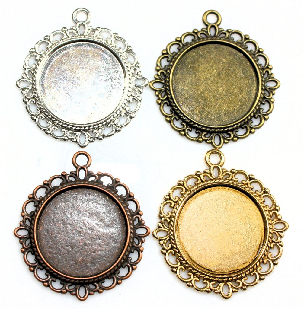 5 x ANTIQUE SILVER, BRONZE, GOLD,COPPER SETTINGS FOR 20mm ROUND CABOCHON
