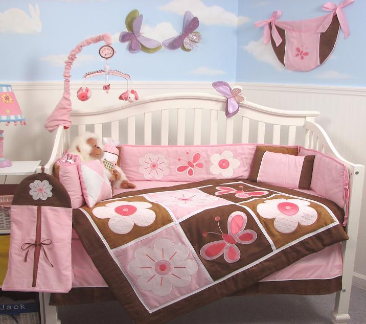 Soho Designs SoHo Pink & Brown Floral Garden Baby Crib Nursery Bedding Set 14 pcs at Sears.com