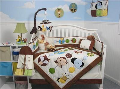 Clearance Boys Bedding on Soho Forest Buddy Baby Crib Nursery Bedding Set 13 Pcs Included Diaper