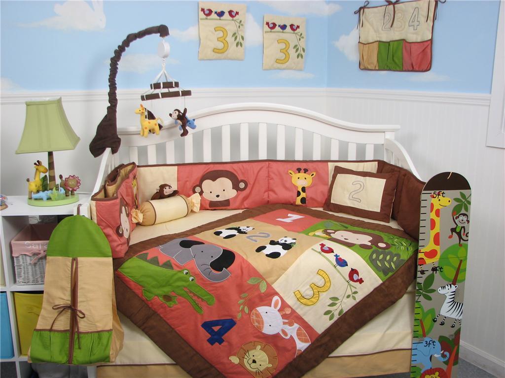1234 jungle friends baby crib nursery bedding set 13 pcs. Black Bedroom Furniture Sets. Home Design Ideas