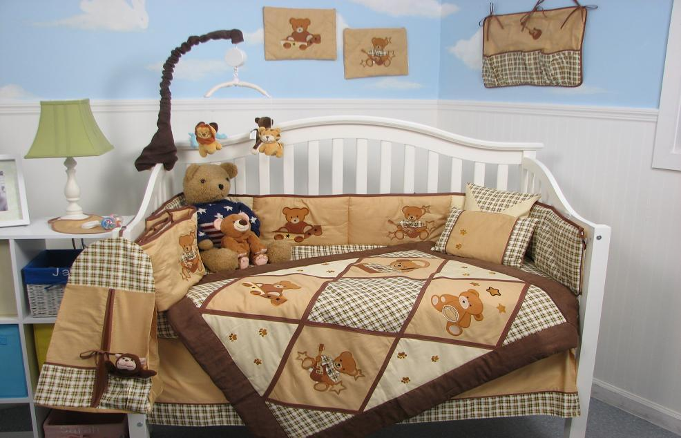 Soho Designs American Teddy Bear Baby Crib Nursery Bedding Set 14 pcs included Diaper Bag with Changing Pad, Accessory Case & Bottle Case at Sears.com