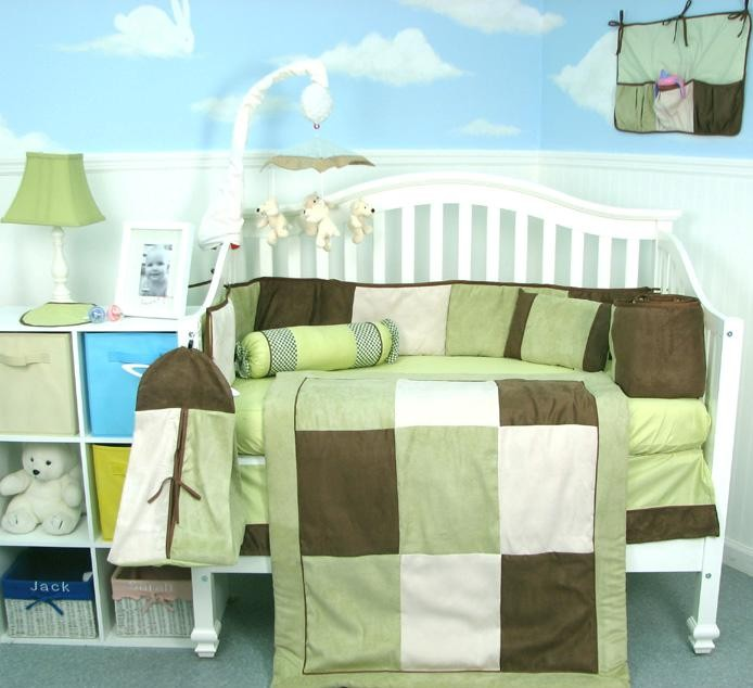 Soho Designs Sage & Brown Suede Baby Crib Nursery Bedding Set 14 pcs included Diaper Bag with Changing Pad, Accessory Case & Bottle Case at Sears.com
