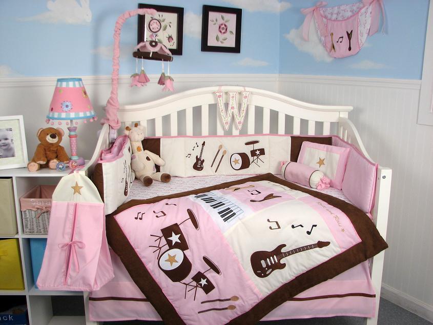 Soho pink and brown rock band baby crib bedding set 13 pcs for Rock n roll baby crib set