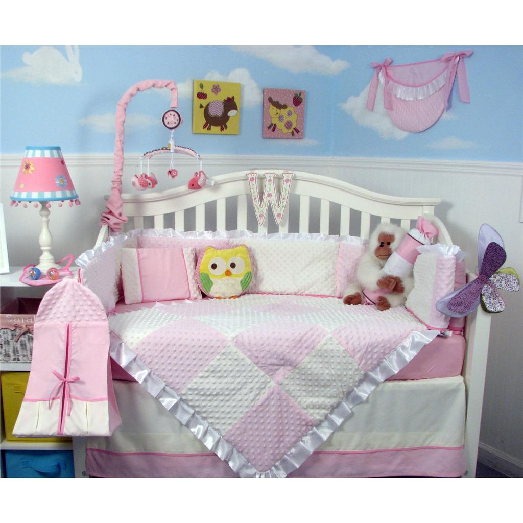 Soho Designs Pink Minky Dot Chenille Baby Crib Nursery Bedding Set 14 pcs included Diaper Bag with Changing Pad, Accessory Case & Bottle Case at Sears.com