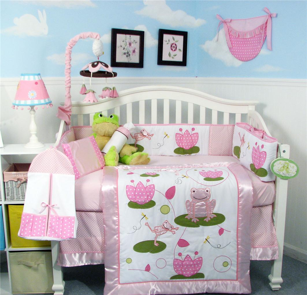 Soho Designs Pink Froggie Party Baby Crib Nursery Bedding Set 14 pcs included Diaper Bag with Changing Pad, Accessory Case & Bottle Case at Sears.com