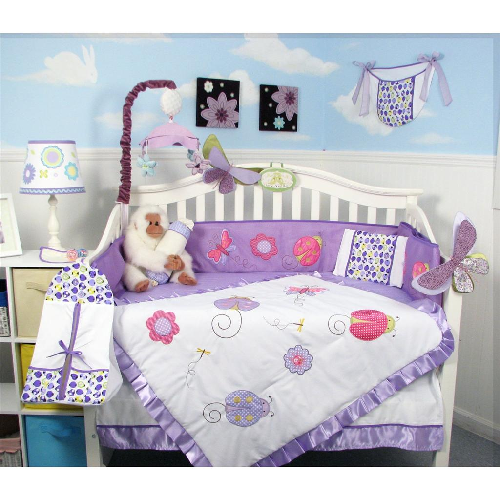 Soho Designs Lavender Little Lady Baby Crib Nursery Bedding Set 14 pcs included Diaper Bag with Changing Pad, Accessory Case & Bottle Case at Sears.com