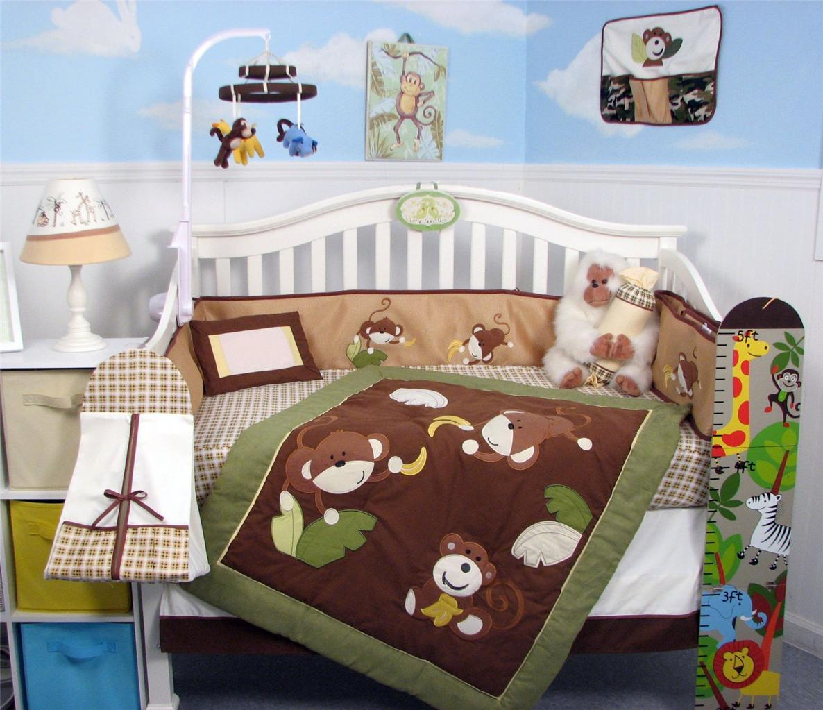 Soho Designs SoHo Monkey Business Baby Crib Nursery Bedding Set 13 pcs included Diaper Bag with Changing Pad & Bottle Case at Sears.com
